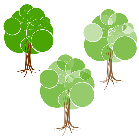 diameters: Cartoon green summer tree with a crown of circles of different diameters.