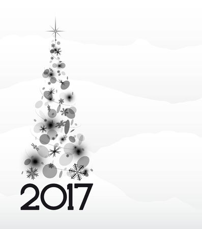 abstractly: Christmas card with fir tree in 2017. White and snow.