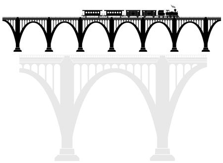 Ajouré arc pont en béton avec une locomotive à vapeur. Les infrastructures de transport. Transport de passagers. Noir et blanc.