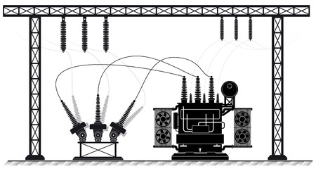 Electrical substation. The high-voltage transformer and switch. Risk of electric shock. electricity supply. Stock Vector - 66461616