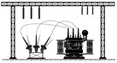 Stacja elektroenergetyczna. Transformator wysokiego napięcia i przełącznik. Ryzyko porażenia prądem. dostawa energii elektrycznej. Ilustracje wektorowe