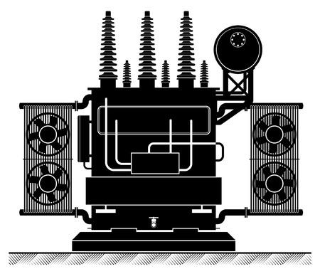 L'alta transformatorel. Illustrazione in bianco e nero. Rischio di scossa elettrica. alimentazione elettrica. Trasformazione di energia.