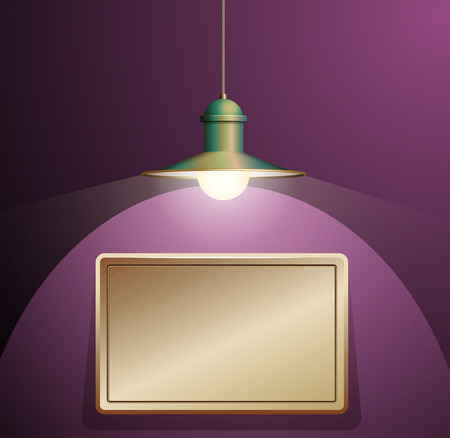 pendant lamp: Ancient bronze lamp hanging on the wire. Big and empty bronze plate illuminated on the purple wall. Vector illustration of lighting.