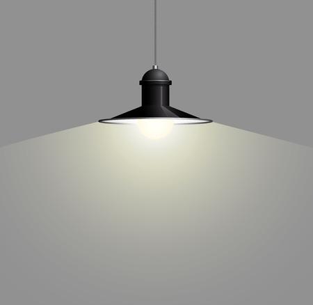 Alte Schwarze Lampe, Die Am Draht Hängt. Großer Und Leerer Raum ...