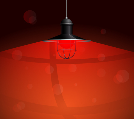 pendant lamp: Ancient black lamp with red bulb hanging on the wire. Big and empty space illuminated on the dark red wall. Vector illustration of lighting.