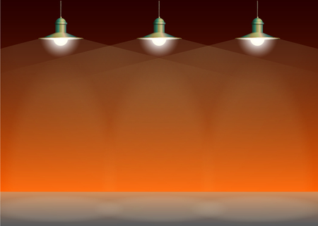 Ancient three bronze lamp hanging on the wire. Big and empty space illuminated on the orange wall. Vector illustration of lighting.
