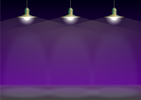 pendant lamp: Ancient three bronze lamp hanging on the wire. Big and empty space illuminated on the purple wall. Vector illustration of lighting.