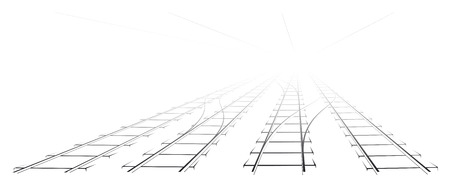 turnouts: Black Outline of tracks, sleepers and turnouts at the station. The image a perspective. Illustration
