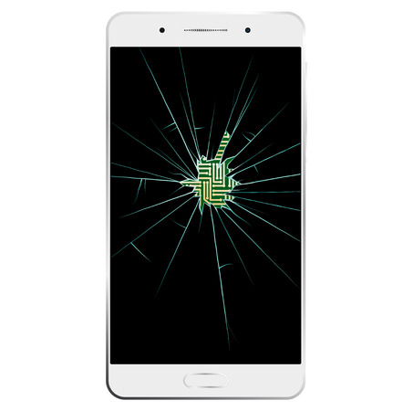 broken screen: White Smartphone with broken screen. Communication is interrupted. Through hole printed circuit board is visible.