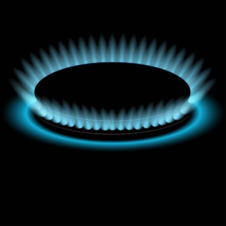 gas burners: Gas burners, blue flame, vector Dark background