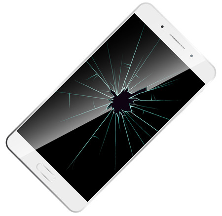 broken screen: shattered phone screen icon. Vector illustration white modern smartphone with broken screen. Illustration