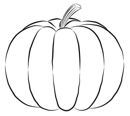 Outline Pumpkin Black Fine Lines And Spine Vector Black Silhouette