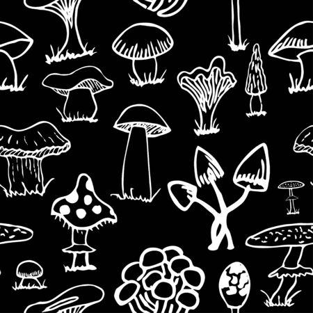 grebe: Set of white silhouettes of cute cartoon mushrooms . Illustration