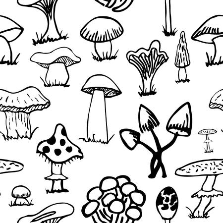 grebe: Set of silhouettes of cute cartoon mushrooms .
