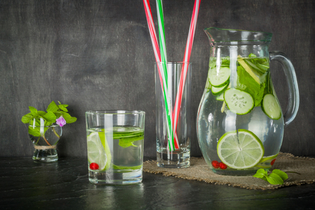 ewer: Water detox in a glass jar and a glass. Fresh green mint and berries. A refreshing and healthy drink. Copy space.