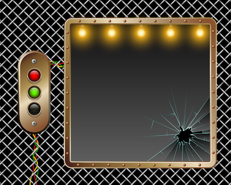 rivets: Industrial vector background. Metal frame. Brass buttons with illumination. Broken glass. Illumination by lamps. Horizontal placement