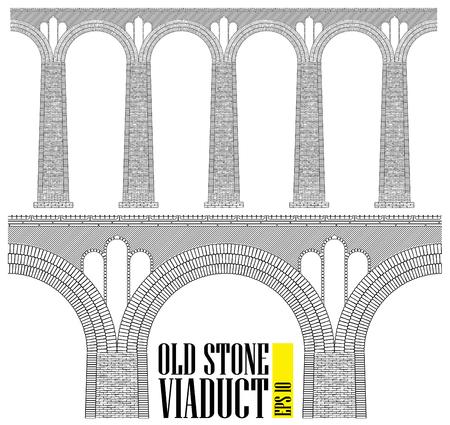 Un ancien viaduc en pierre haute. Construit en pierre et en briques, un immense pont. Même les plus petits détails sont visibles. Voir dans le profil.