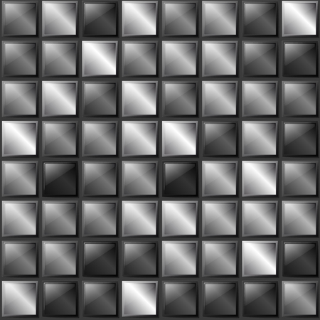 chrome: Checkers metal background of polished metal plates of different shades. Production, plant or factory.