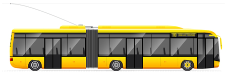 Large articulated trolleybus. Yellow with modern design. Side view. Translucent windows. Contact network and road. Stock Photo