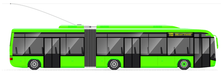 Large articulated trolleybus. yellow with modern design. Side view. Translucent windows. Contact network and road.