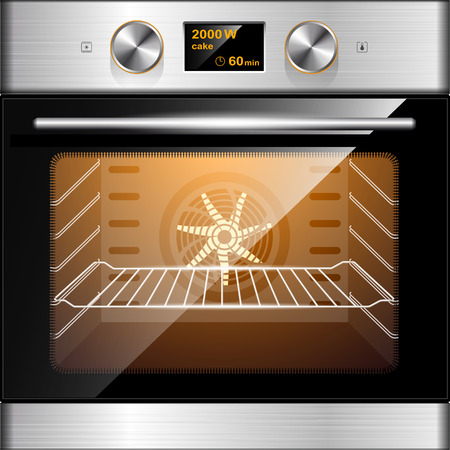 Electric oven in stainless steel and glass. Electronic control. Illustration