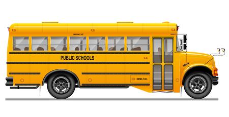 Autobús escolar clásico amarillo. Vista lateral. Educación estadounidense. Imagen tridimensional con detalles cuidadosamente trazados.