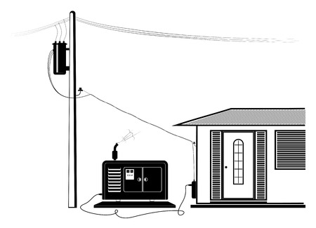 Emergency supply of the house with electricity from an autonomous generator. Power outage. Black silhouette.