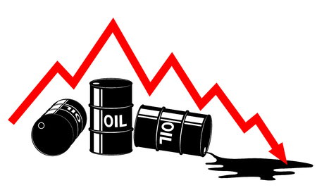 The fall in the price of oil. Graph and barrels.