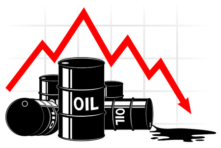 brent: The fall in the price of oil. Graph and barrels. The cost decreases. The crisis of the economy.