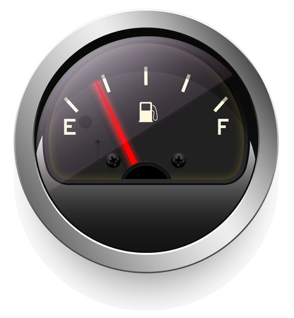 Analog indicator with an arrow. The device is a level or pressure display.