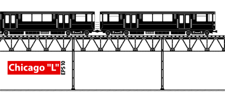 An overground high-speed subway. City ecological transport. A large number of passengers. Black and white contour image. Illustration