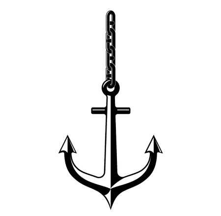 heavy: A black white outline of an antique metal anchor suspended on a solid chain.