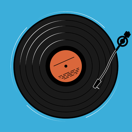 schematically: The vinyl player shown schematically and simply. A record with music for a disco or a nightclub. Illustration
