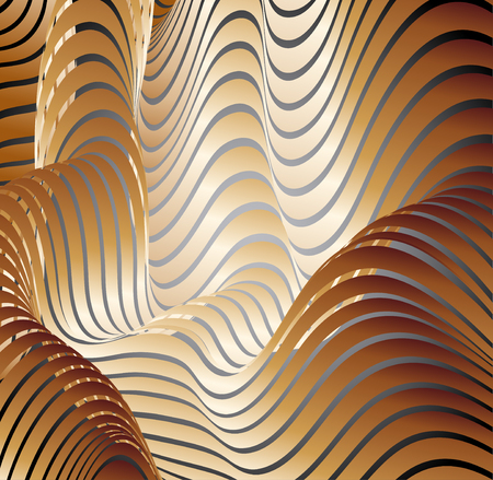 Parallel bands of metal with a gradient fill. Bizarre curved shape. Acrylic patterns.