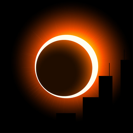 aureole: A solar eclipse over the city. The crown of the sun is visible around the moon. Orange on black Illustration