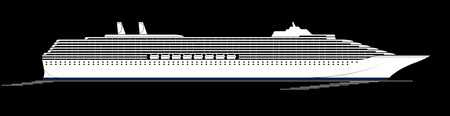A large and modern cruise ship. A huge liner goes through the Ocyan. Side view, silhouette Illustration