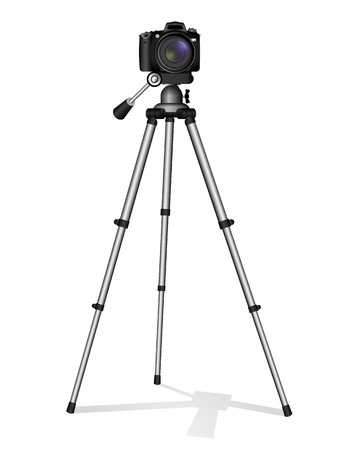 SLR camera on a tripod. Metal construction. Take a photo, movie or video Illustration