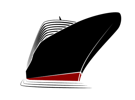 caribbean cruise: The big nose of a cruise liner. Simple logo ship in the marina. View from the bottom up Illustration