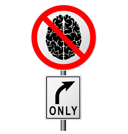prohibiting: Infographics with a sign on the road prohibiting the passage of those who think.