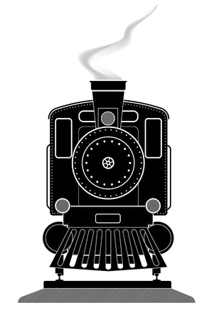 footplate: Profile front view of an old locomotive on rails. Black and white vector