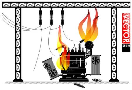 変電所での事故。変圧器を火災します。停電。停電ニュース。  イラスト・ベクター素材