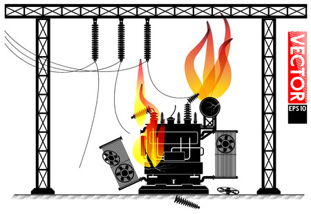 Accident at the transformer substation. Fire on the transformer. Power outage. Blackout news.