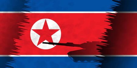 Silhouettes of tanks against the background of the flag of North Korea. Military background. Conflict in Asia. Illustration