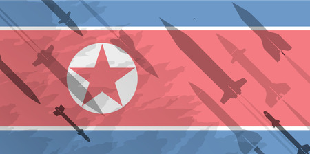 Silhouettes of rocket against the background of the flag of North Korea. Military background. Conflict in Asia.