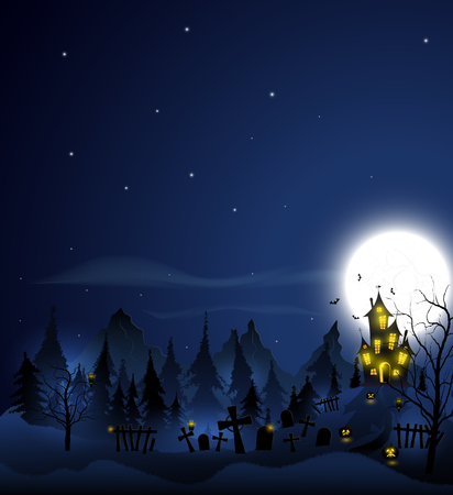 Halloween background with haunted house, tombs, forest and full moon. Blue color. Illustration