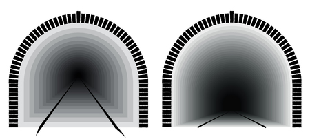 A long and deep railway tunnel. Way directly. The uncertainty lies ahead Illustration