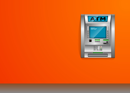ATM - Automated teller machine. Orange wall. Metal construction. High detail. Illustration