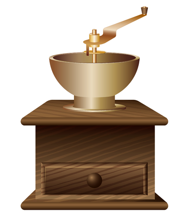 Traditional antique coffee grinder made of wood and bronze. Procurement for advertising or selling coffee. White background