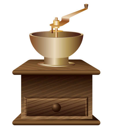 Traditional antique coffee grinder made of wood and bronze. Procurement for advertising or selling coffee. White background.