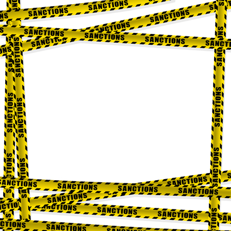 Limit yellow ribbon with the word sanction. Prohibition of cooperation. Frame procurement for news about the aggressor's limitations. Vectores